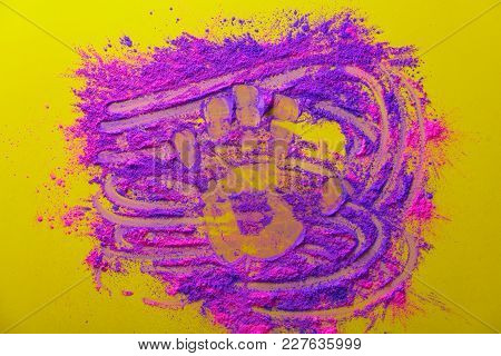 Pink And Purple Paint And Palm Shape