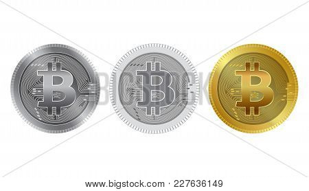 Physical Bit Coin. Digital Currency. Cryptocurrency. Golden And Silver Coin With Bitcoin Symbol Isol