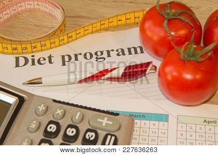 Measure Tape And Fresh Fruit In The Background. Healthy Lifestyle Diet With Fresh Fruits. Fruit Diet