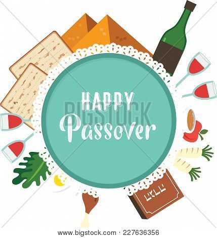 Passover Seder Plate With Flat Traditional Icons. Greeting Card Design Template. Abstract Vector Ill