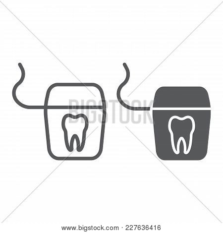 Dental Floss Line And Glyph Icon, Stomatology And Dental, Clean Sign Vector Graphics, A Linear Patte