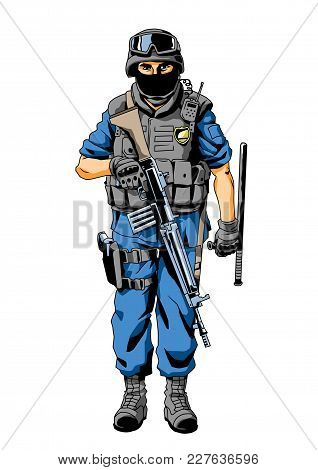 Special Forces Police Character, Illustration, Vector, Color