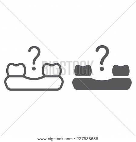 Missing Tooth Line And Glyph Icon, Stomatology And Dental, Loose Tooth Sign Vector Graphics, A Linea