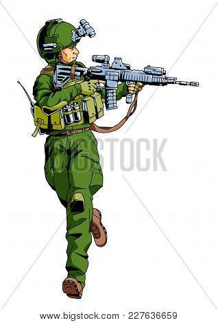 Running Soldier With Weapon, Illustration, Vector, Color