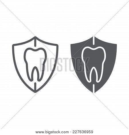Dental Protection Line And Glyph Icon, Stomatology And Dental, Tooth In Shield Sign Vector Graphics,