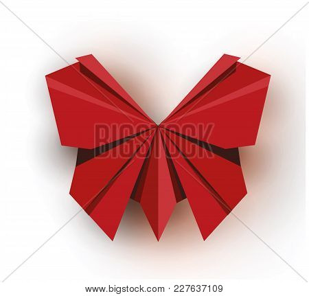 Origami. Origami Butterfly. Red Origami Butterfly. Red Paper Origami Butterfly. Paper Butterfly. Vec