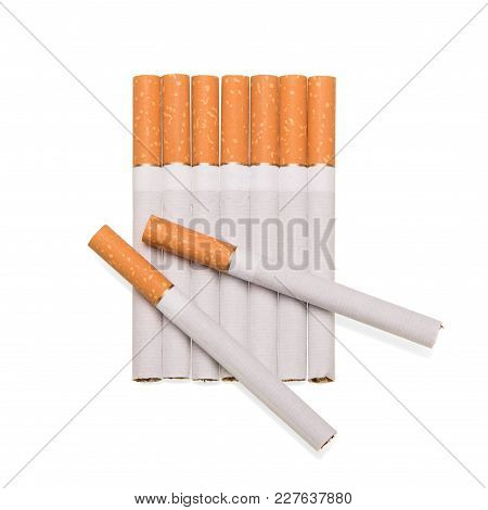 Straight Row Of Cigarettes, Top Has Two Isolated On White Background