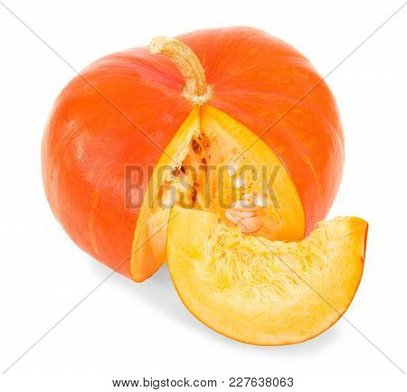Ripe, Juicy Pumpkin, Near Slice Isolated On White Background