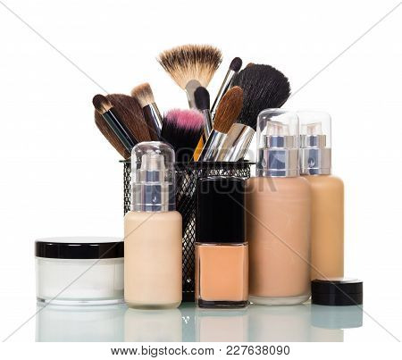 Set Of Cosmetics For Make-up, Different Brushes In Stand, Isolated On White Background