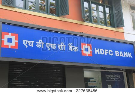 New Delhi India - October 28, 2017: Hdfc Bank India. Hdfc Bank Is Indias Largest Private Sector Lend