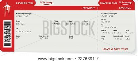 Red Vector Airline Passenger And Baggage Boarding Pass Ticket With Barcode. Concept Of Travel, Journ