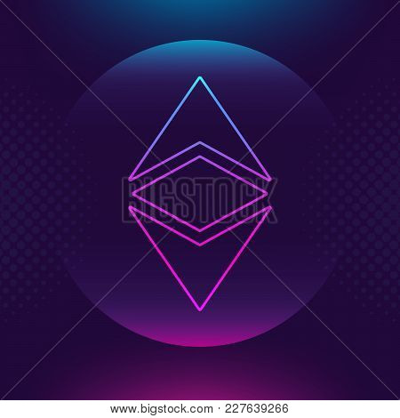 Ethereum Classic Etc Vector Outline Icon. Cryptocurrency, E-currency, Crypto Currency, Blockchain Bu