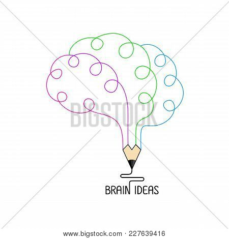 Colorful Outline  Pencil In The Shape Of A Human Brain.  Icon Design Of  Brain Ideas And Creative In