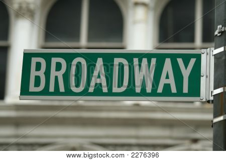 Green Broadway Sign Close Up
