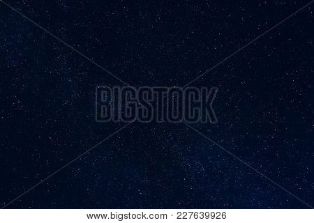 Background Of Starry Dark Night Sky With Stars And Milky Way