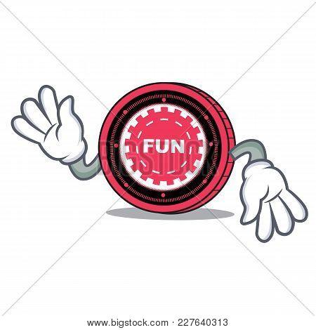 Crazy Funfair Coin Mascot Cartoon Vector Illustration