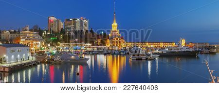 Sochi, Russia - February 10, 2018: Sea Wharf, In The Evening.