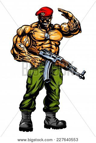 Muscular Soldier With Gun Salutes, Illustration, Vector, Color