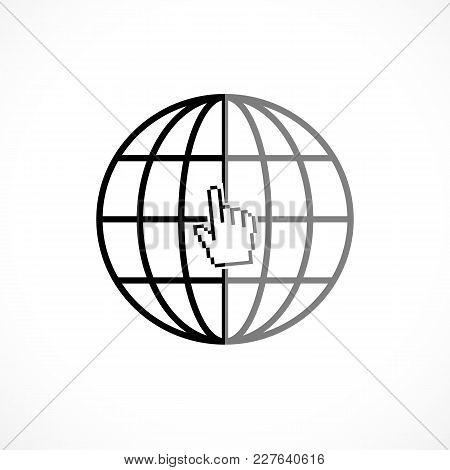 Internet Icon. Site Favicon With Pixalate Hand Cursor