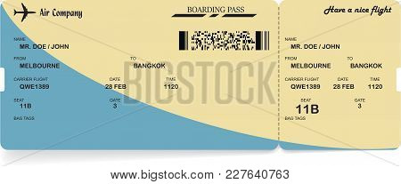 Blue And Yellow Vector Airline Passenger And Baggage Boarding Pass Ticket With Barcode. Concept Of T