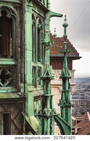 Saint Peters Cathedral, Geneva, Switzerland. Vertical Retro Toned Photo
