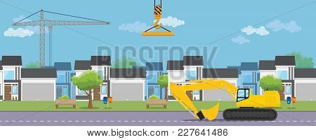 Housing Real Estate Construction Development With House And Heavy Equipment Vector Graphic Illustrat