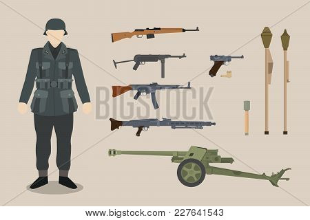 A German Ww2 Soldier Gun Equipment With Bazooka Machine Gun Pistols Artillery Vector Graphic Illustr