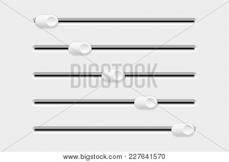 Settings Slider. Set Of Interface Elements. Vector 3d Illustration