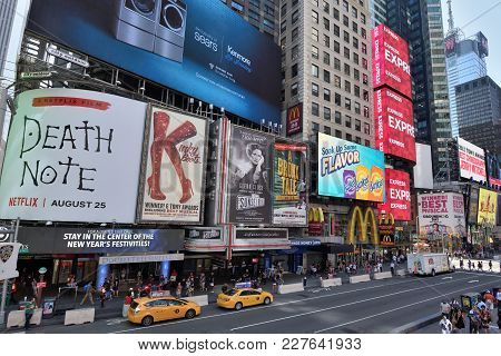 New York City - Aug. 24: Advertisement On The Times Square In Manhattan On August 24, 2017 In New Yo