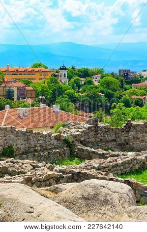 Cityscape View Of Plovdiv City, Bulgaria And The Ruins Of The Old Fortress