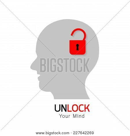 Open Mind, Unlocked Your Mind Concept. Illustration Of Human Head, Isolated On White Background.