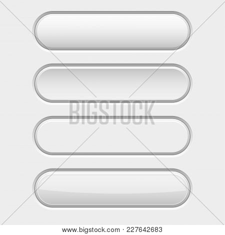 White Oval Interface Buttons. Active, Pushed, Hover And Normal. Vector 3d Illustration