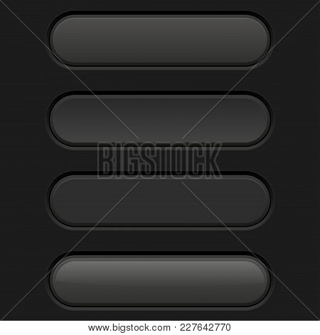 Black Oval Interface Buttons. Active, Pushed, Hover And Normal. Vector 3d Illustration