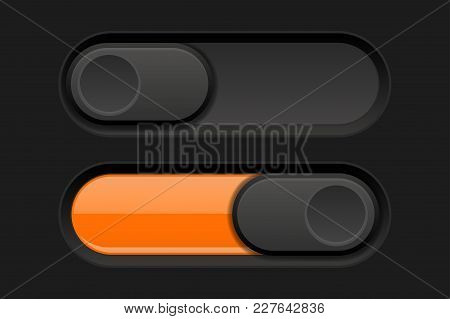 On And Off Long Oval Icons. Black And Orange Switch Interface Buttons. Vector 3d Illustration