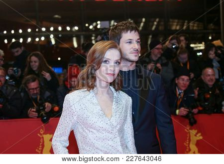Isabelle Huppert, Gaspard Ulliel attend the 'Eva' premiere during the 68th l Film Festival Berlin at Berlinale Palast on February 17, 2018 in Berlin, Germany.
