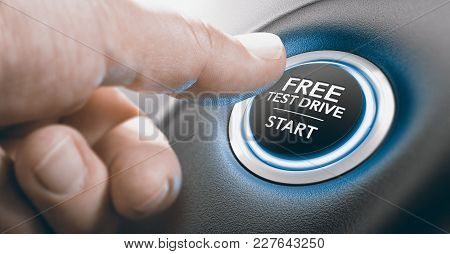 Man Pushing A Free Test Drive Button. Composite Image Between A Finger Photography And A 3d Backgrou