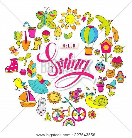 Cartoon Hand Drawn Doodle Hello Spring Frame. For Banners, Posters, Flyers, Cards, Invitations. Vect