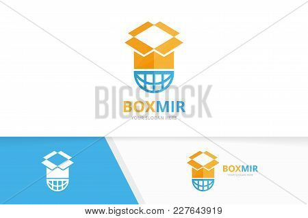 Vector Box And Planet Logo Combination. Package And World Symbol Or Icon. Unique Delivery And Globe