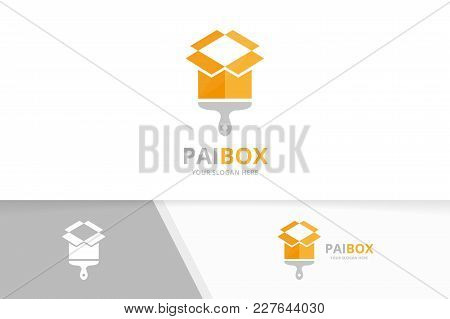 Vector Box And Brush Logo Combination. Package And Paintbrush Symbol Or Icon. Unique Shop And Delive