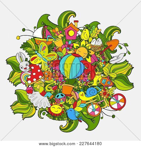 Cartoon Hand Drawn Doodle Hello Spring Art. For Banners, Posters, Flyers, Cards, Invitations. Vector