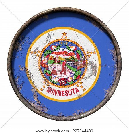 3d Rendering Of A Minnesota State Flag Over A Rusty Metallic Plate. Isolated On White Background.