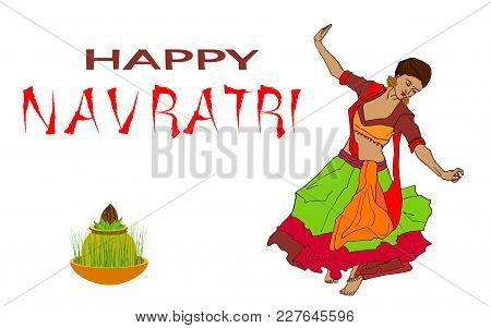 Illustration Of Couple Playing Dandiya In Disco Garba Night Poster For Navratri Dussehra Festival Of
