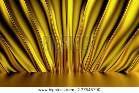 Gold Silk Drapery And Fabric On The Floor. 3d Rendering