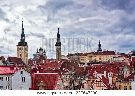 The Medieval Old Town Of Tallinn, The Capital Of Estonia, Seen From A Tower Of An Old Wall Surroundi