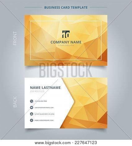 Creative Business Card And Name Card Template Abstract Yellow And Gold Geometric Background With Lig