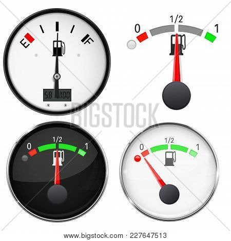 Car Dashboard Gauges. Fuel Level Scales. Vector 3d Illustration Isolated On White Background