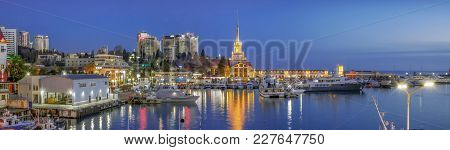 Sochi, Russia - February 10, 2018: Evening Panorama Of The Dock.