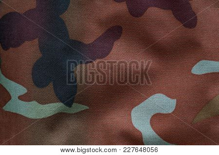Texture Fabric With Military Coloring For Background. Khaki, Camouflage