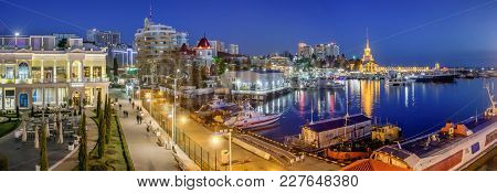 Sochi, Russia - February 10, 2018: Evening Lights On The Waterfront.