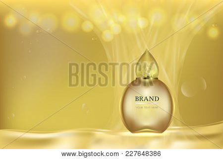 Cosmetic Container With Advertising Background And Space For Text, Gold Liquid Luxury Perfume Ad. Ve